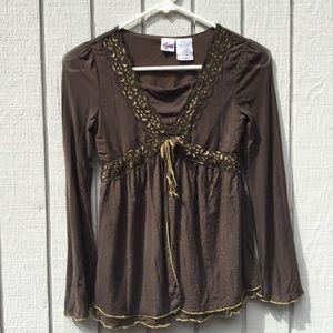 Shirts & Tops - Hannah Montana brown and gold blouse